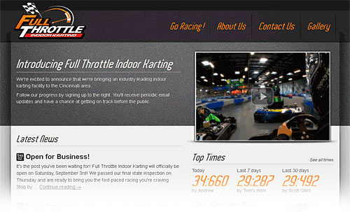 Full Throttle Website Homepage