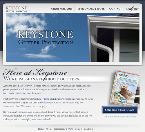 www.keystonegutterprotection.com screen shot