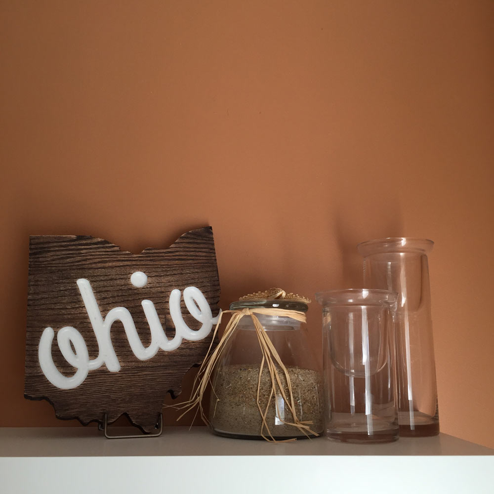 Ohio Shaped Oak Wall Sign with Script on Shelf