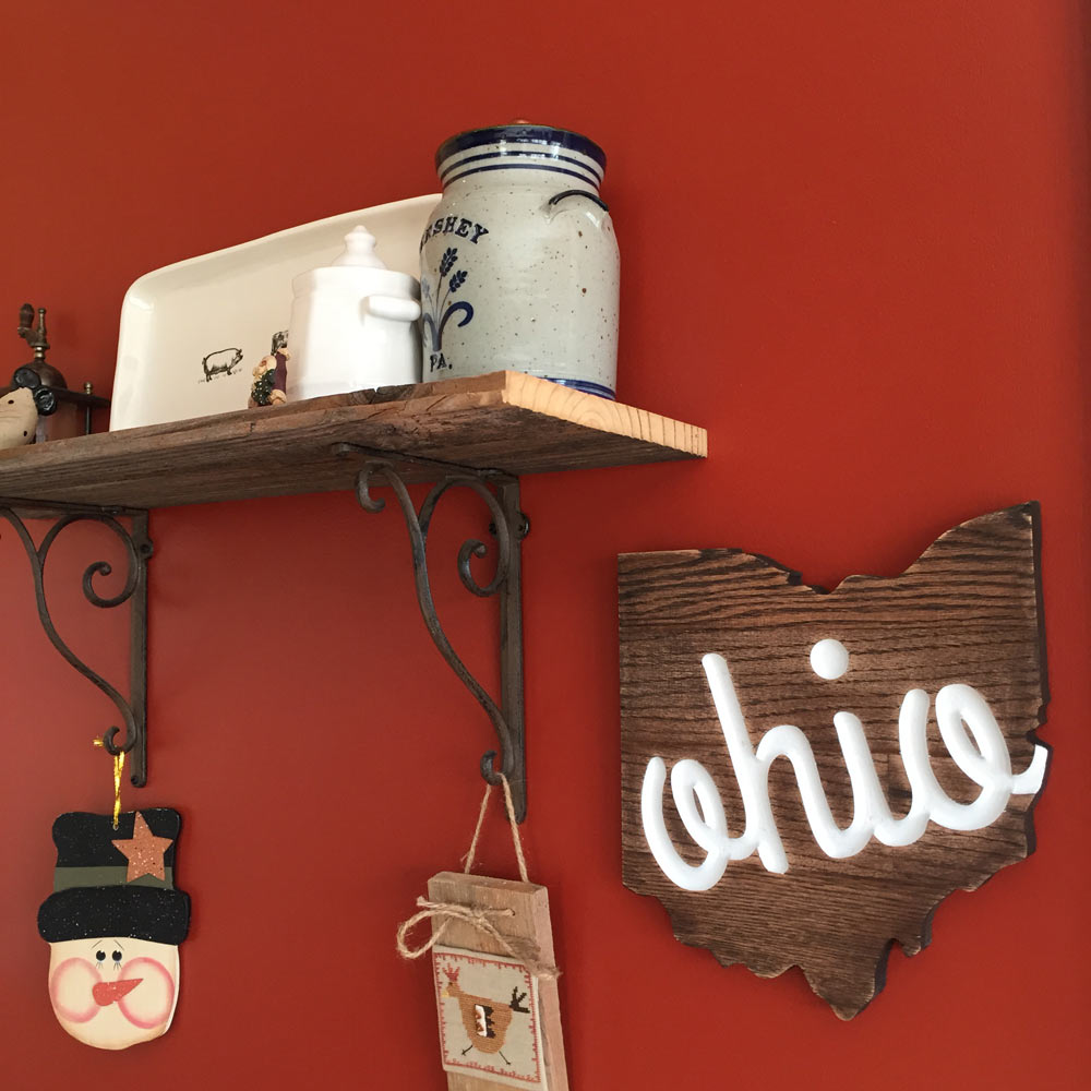 Ohio Shaped Oak Wall Sign with Script on Wall