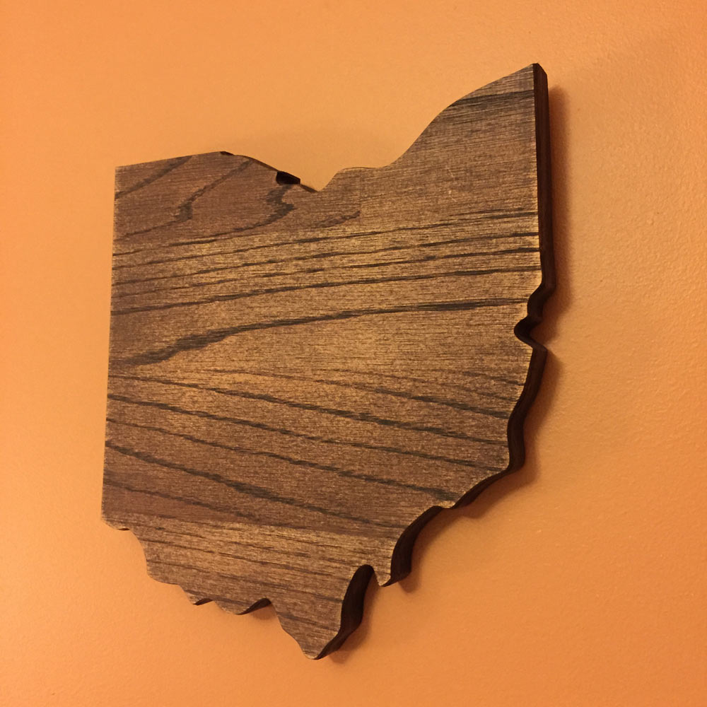 Ohio Shaped Oak Wall Sign