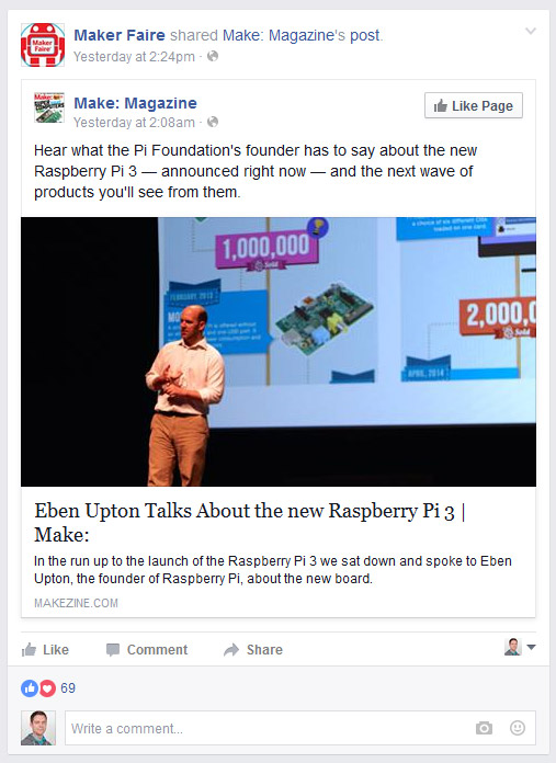 Make: Eben Upton Facebook Post