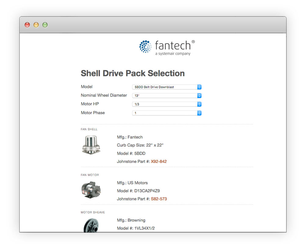Fantech Part Finder