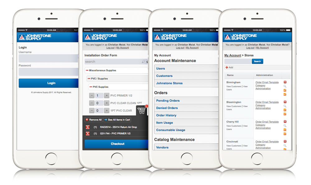 Johnstone Supply Part Stock Mobile Web Application