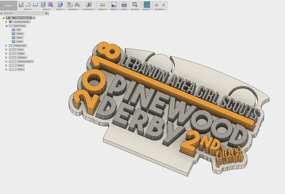 Pinewood Derby Trophy Rendering